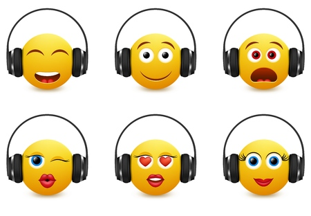 Music emoji icon set. Vector illustration of emoticons wearing headphones isolated on white background. Ilustração