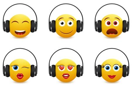 Music emoji icon set. Vector illustration of emoticons wearing headphones isolated on white background. Illustration