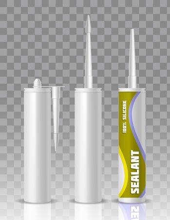 Silikon-Dichtstoff-Verpackungsbehältertube mit Düsenmodell-Set. Realistische Vektorgrafik des Vektors lokalisiert auf transparentem Hintergrund.