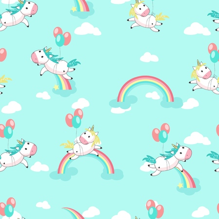 Magic unicorn seamless pattern. Vector hand drawn flying on balloons romantic unicorns with rainbows and clouds.