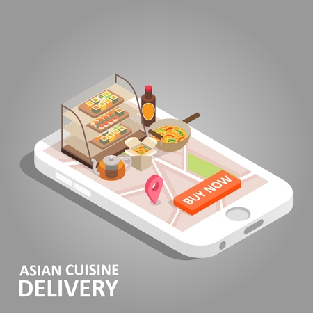 Asian food online vector isometric illustration 向量圖像