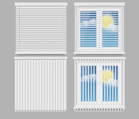 Blind window curtains vector realistic mockup set