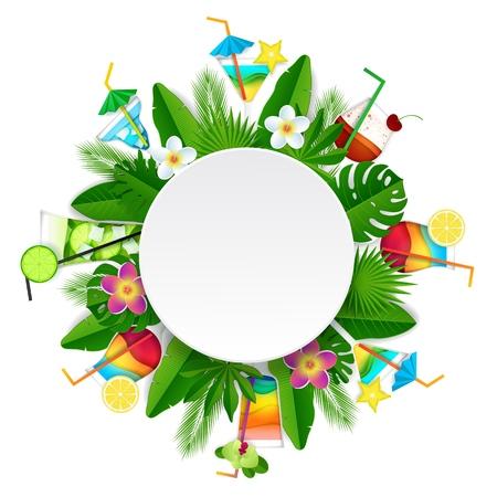 Cadre rond de boisson d'été cocktail tropical. Papier vectoriel découpé illustration de belles fleurs tropicales exotiques, feuilles de palmier et cocktails.
