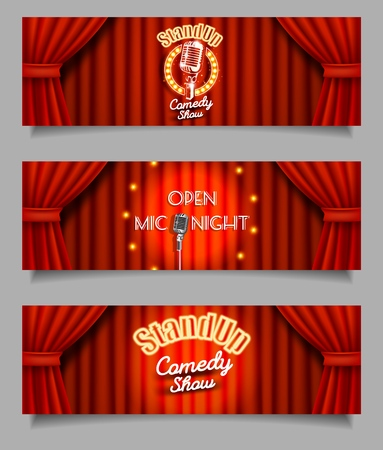 Stand-up comedy show open mic night banner template set. Vector realistic illustration of theater stage red curtains and microphone. Live show event backgrounds.