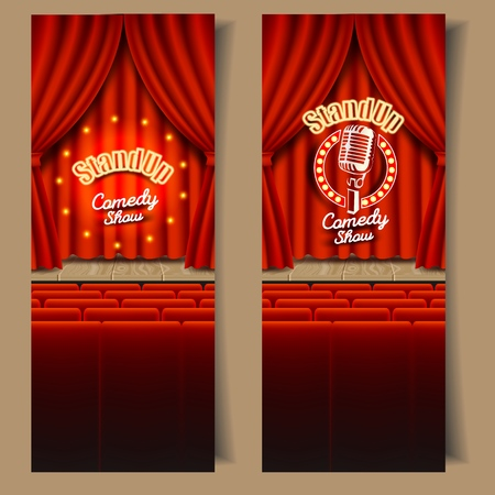 Stand-up comedy show banner template set. Vector realistic illustration of empty theater stage with red curtains, chairs for audience and microphone. Live show event backgrounds. 일러스트