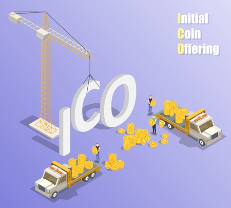 Initial coin offering mechanism of selling newly issued tokens in exchange for established cryptocurrencies. Vector isometric tower crane and trucks with ico tokens and bitcoin litecoin ether coins. Ilustrace