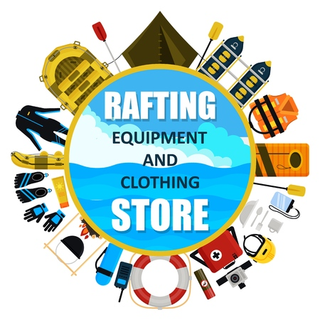 Vector rafting equipment and clothing store emblem