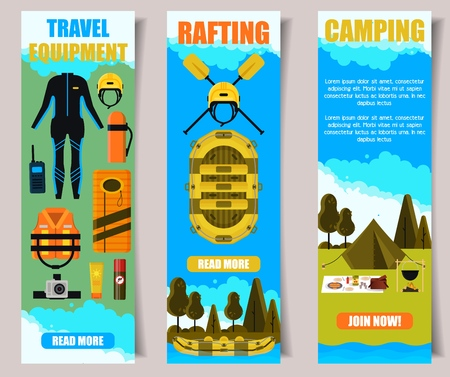 Vector set of travel banners. Travel equipment, Rafting, Camping web templates. Flat style design. Illustration