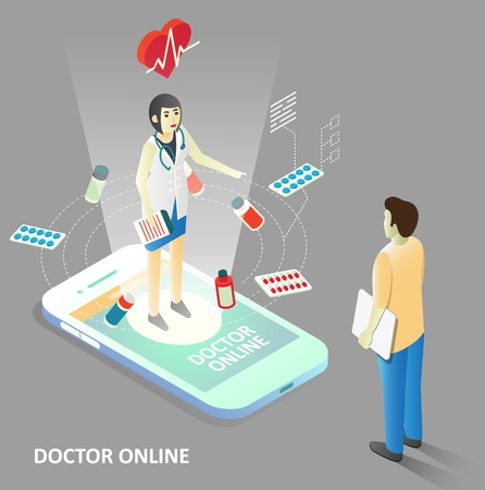 Doctor online concept. Vector isometric smartphone with doctor giving medical consultation to patient. Virtual medical assistance via mobile device.