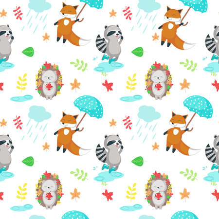 Vector seamless pattern with cute animals fox, hedgehog, raccoon, clouds with raindrops and autumn leaves. Autumn background, wallpaper, fabric, wrapping paper design.
