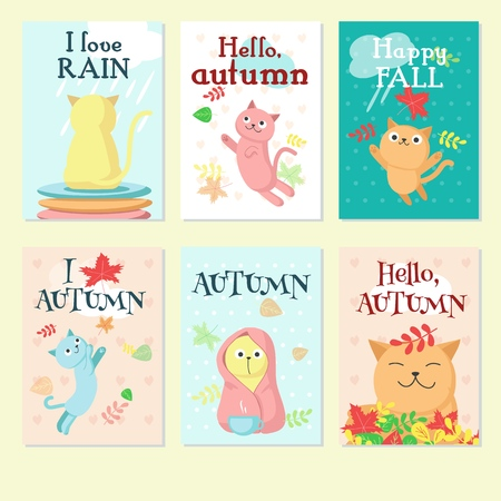 Autumn card set, vector illustration. Funny cats with Autumn, Hello autumn, Happy fall, I love autumn, I love rain handwritten quotations.