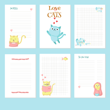 Planner vector template with cute cats and pets accessories. Organizer and schedule with place for notes and To do list. 일러스트