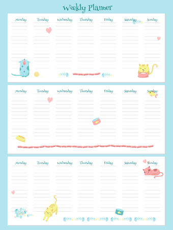 Weekly planner vector template with cute cats and pets accessories. Organizer and schedule with place for notes.