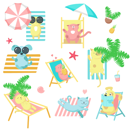Cute pet animals taking rest on beach icon set. Vector illustration of funny cats, dogs and hamsters enjoying summer beach holidays isolated on white background. Vettoriali