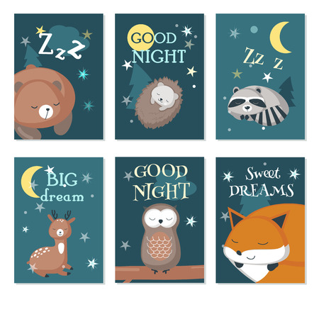 Vector set of cards with sleeping cute animals and handwritten quotations. Vector illustration of funny hedgehog, bear, deer, fox, owl raccoon with night sky landscape.