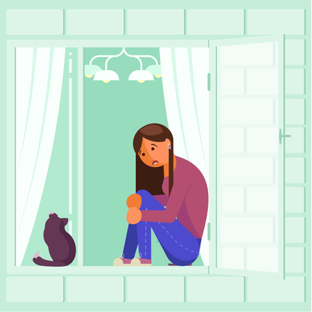 Depressed girl on window sill vector flat design