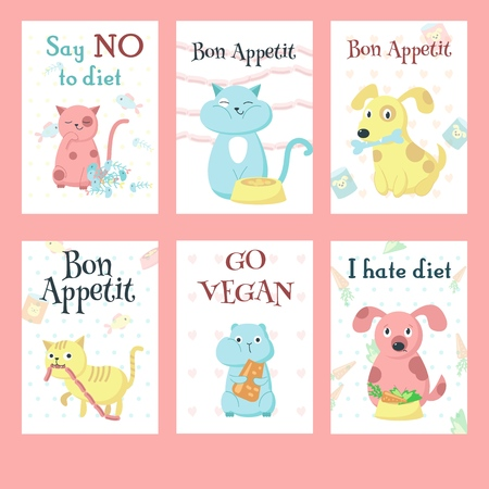 Vector set of cards with cute pet animals and handwritten inspirational quotations. Funny cats, dogs and hamsters eating their favourite food fish, sausages, canned food, cheese.