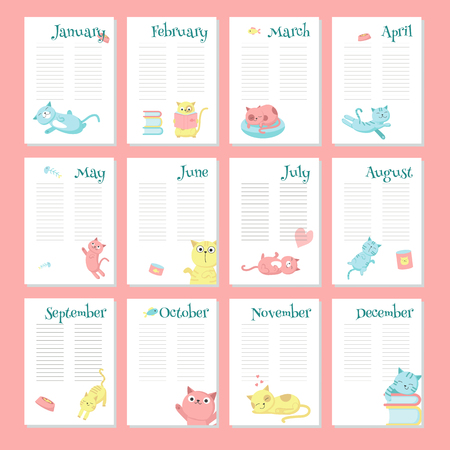Planner calendar vector template with cute pet cats. Organizer and schedule with place for notes.