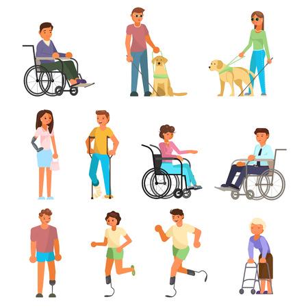 Symbolsatz für behinderte Menschen. Flache Illustration des Vektors lokalisiert auf weißem Hintergrund. Menschen, die Mobilitätshilfen verwenden, helfen beim Gehen mit Rahmen, Rollstuhl, Laufschaufeln, Krücken und Prothesen. Blind mit Stock, Blindenhund. Vektorgrafik
