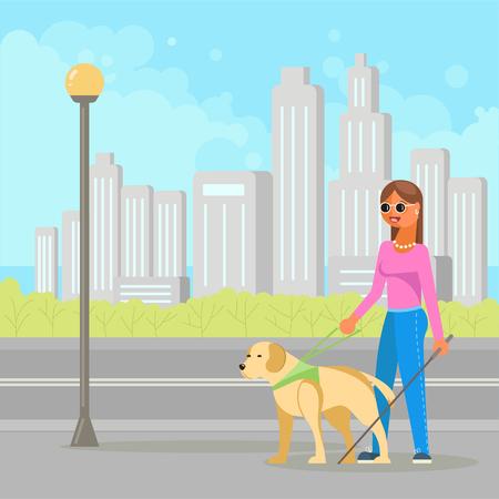 Illustration vectorielle de jeune femme aveugle handicapée avec bâton et chien-guide marchant dans la rue. Conception de style plat.