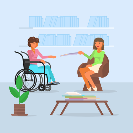 Vector illustration of disabled woman in wheelchair enjoying meeting with her friend young woman. Flat style design.