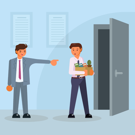 Job losses, unemployment concept vector isolated illustration. Angry boss showing the door to dismissed frustrated man holding box with his personal things. Flat style design.