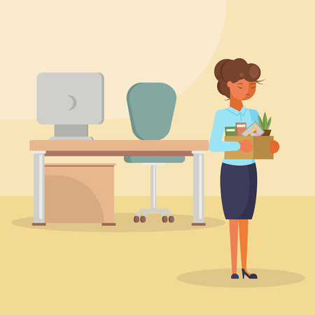 Job losses, unemployment concept vector flat isolated illustration. Dismissed frustrated and sad woman going out from office room while holding box with her personal things.