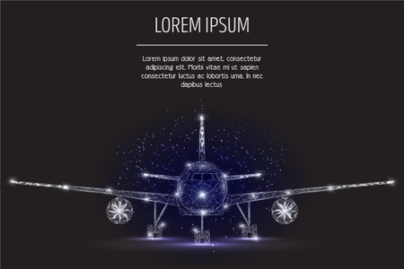 Airliner vector geometric polygonal art style background