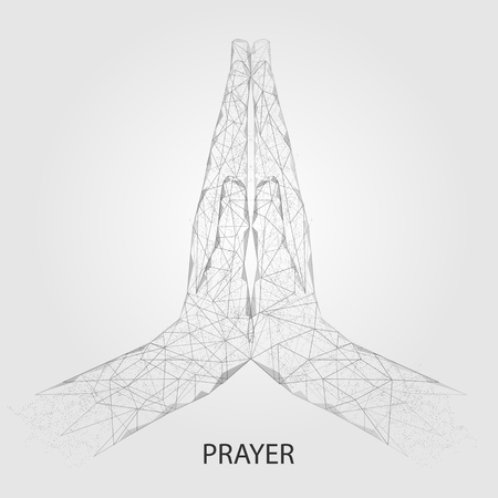 Praying hands vector geometric polygonal art background