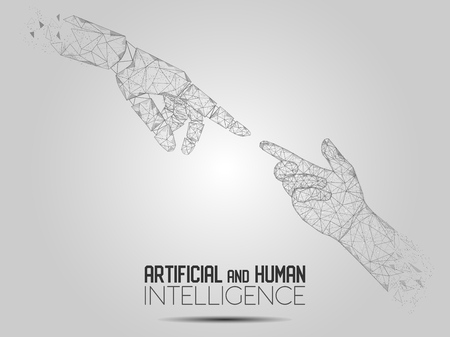 Robot and human touching hands vector polygonal background