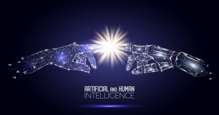 Robot and human touching hands vector polygonal background 版權商用圖片 - 109100916