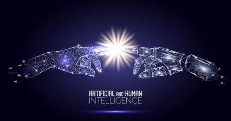 Robot et mains humaines touchant le vecteur fond polygonale Vecteurs
