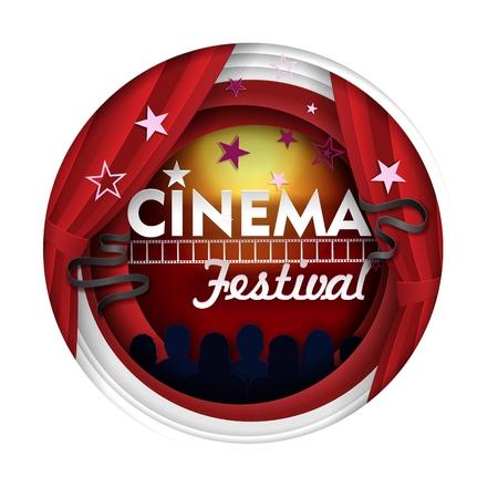 Cinema festival vector paper cut poster banner template 向量圖像