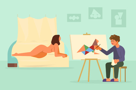 Painter artist drawing from nude model vector illustration