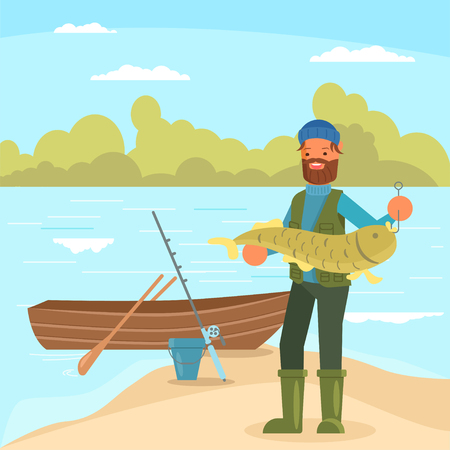 Bearded man holding big fish. Vector illustration in flat style. Fishing hobby concept design element.