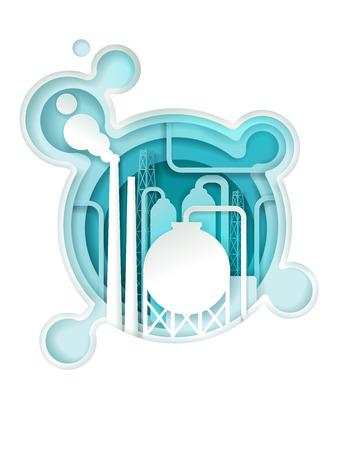 Modèle de bannière d'affiche de l'industrie chimique. Illustration vectorielle dans le style art papier. Tuyau d'usine chimique avec énorme nuage d'acide. Vecteurs