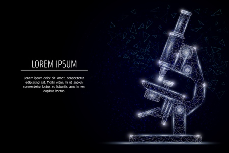 Geometrisches polygonales Kunststildesign des Mikroskopvektors