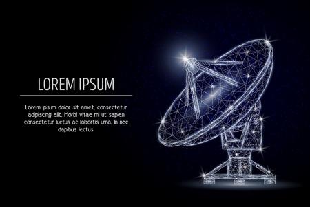 Geometrisches polygonales Kunststildesign des Satellitenschüsselvektors