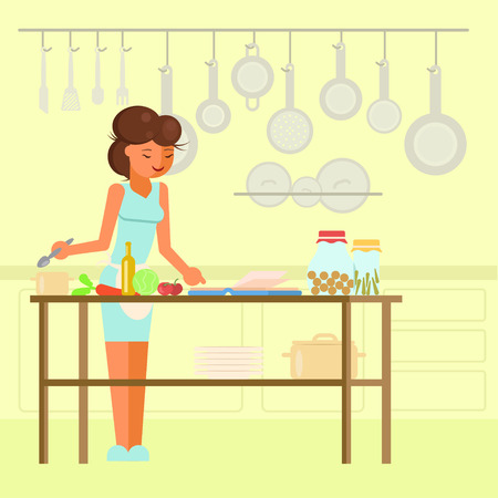 Young woman preparing meal in kitchen. Vector illustration in flat style. Cooking hobby concept design element. Illustration