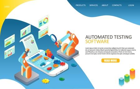Modèle de vecteur de site Web de page de destination de test de logiciel automatisé