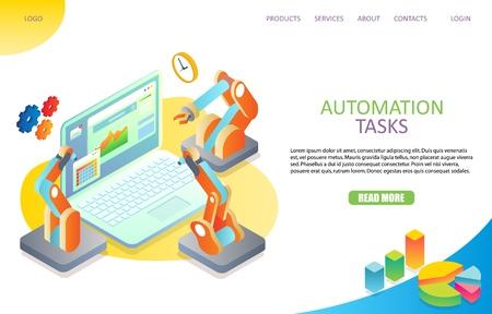 Modello di vettore del sito Web della pagina di destinazione dell'automazione delle attività Vettoriali