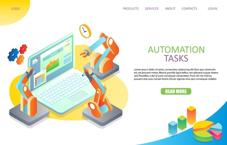 Zielautomatisierungs-Landingpage-Website-Vektorvorlage Vektorgrafik