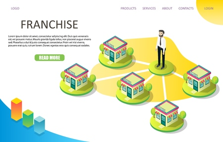 Franchise business landing page website vector template