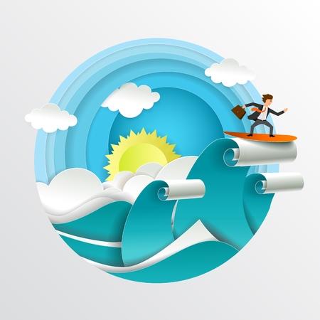 Junger Geschäftsmann mit Aktentasche, die über Wasser bleibt und die Wellen des Wandels surft. Vektorillustration im Papierkunststil. Geschäftskonzept herausfordern.