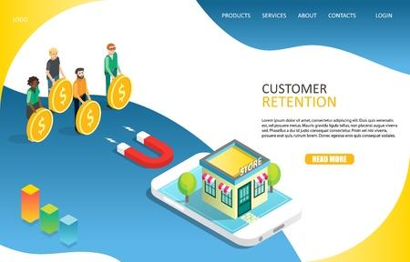 Customer retention landing page website vector template