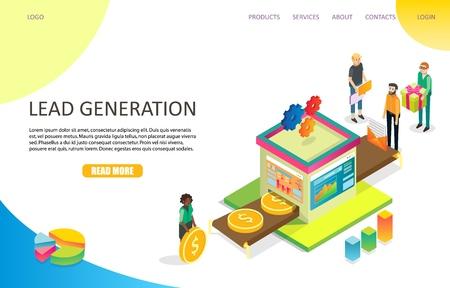 Lead generation landing page website vector template