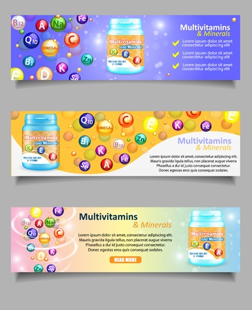 Vector set of vitamin and mineral complex banners