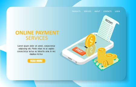 Online payment services landing page website vector template