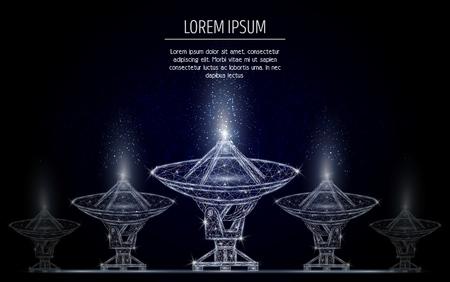 Illustration de style art polygonale vecteur radiotélescope