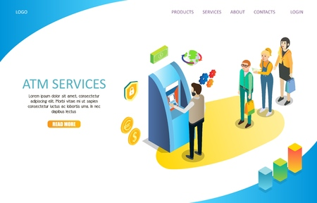 ATM services landing page website vector template